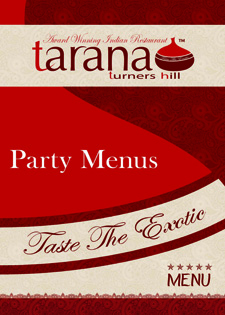 Tarana Party Menus
